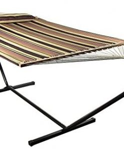 Sunnydaze 2-Person Double Hammock with 12-Foot Portable Steel Stand & Spreader Bars, Quilted Fabric Bed, Sandy Beach