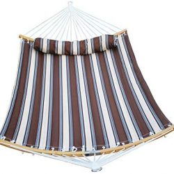 SUNLAX Double Hammock Quilted Fabric Swing with Strong Curved-Bar Bamboo, Detachable Pillow,Coffee Stripe